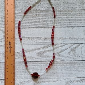 Simple Red and Clear Beaded Necklace